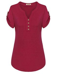Best 12 Larenba Cotton Henley Shirts for Ladies, Womens V Neck Short Sleeve Button Down Stretchy Casual Blouse Henley Shirts(Red,X-Large) Blouse Styles, Blouse Designs, African Fashion Dresses, Fashion Outfits, Summer Blouses, Henley Shirts, Blouses For Women, Clothes, Stitch