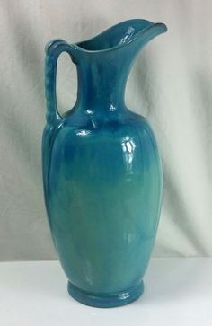 Vintage Frankoma Pottery Fireside Pitcher Vase RARE Turquoise #77 A Sapulpa Clay