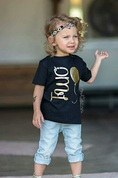 FREE SHIPPING in the USA Girl's 2nd birthday tee shirt featuring our gold metallic balloon birthday design atop a flowing black children's t shirt. Every little princess turning 2 years old needs this adorable tee to ring in her second Bday celebration!