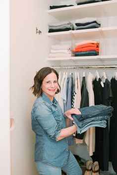 The best closet reorganizations take into account simplicity and ease of maintenance. If you're anything like me, you might find yourself rushing in and out of your closet to change into your workout clothes or to grab a coat. With these solutions, you can keep the chaos at bay and avoid the cluttered floor and piles of discarded clothing. There's literally nothing like walking into a clean and efficient closet each morning. Scarf Organization, Wardrobe Organisation, Linen Closet Organization, Wardrobe Storage, Wardrobe Closet, Wardrobe Doors, Wardrobe Laminate Design, Wardrobe Design Bedroom, Modern Wardrobe