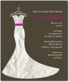 Studio Basics: Bridal Shower Invitations Her Dress - Front : Dark Gray