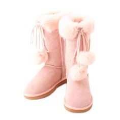 Cute Pink Fur Leather Warm Flat Winter Snow Boots Shop Size 5 6 7 8 9 SKU-143166