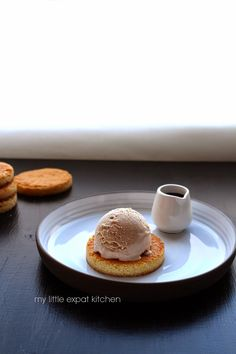 My Little Expat Kitchen: Chestnut ice cream on sablés bretons biscuits with chocolate-Armagnac sauce
