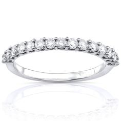 Annello by Kobelli 14k White Gold 1/2ct TDW Diamond Wedding Band (G-H, I1-I2) (White - Size 6.5), Women's