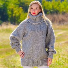 SUPERTANYA Hand Knitted Mohair Wool Sweater GRAY Jumper Grey Pullover M L XL  #SuperTanya #Turtleneck