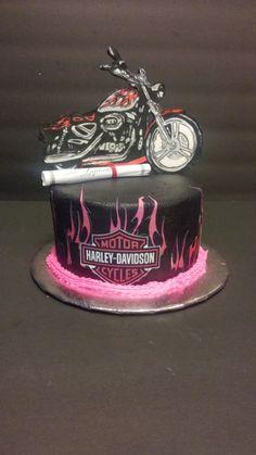 Harley Davidson cake with a hand painted edible image bike