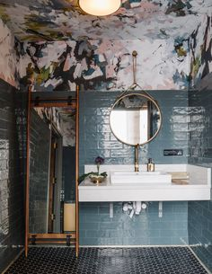 Atlanta's Lazy Betty restaurant pairs industrial details and pops of teal Beautiful Bathrooms, Modern Bathroom, Small Bathroom, Master Bathroom, Blue Bathrooms, Laundry Room Bathroom, Minimal Bathroom, Stone Bathroom, Marble Bathrooms
