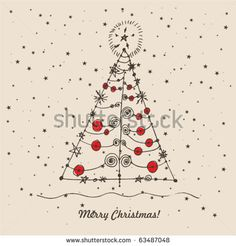 doodle card - abstract christmas tree