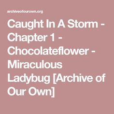 Caught In A Storm - Chapter 1 - Chocolateflower - Miraculous Ladybug [Archive of Our Own]