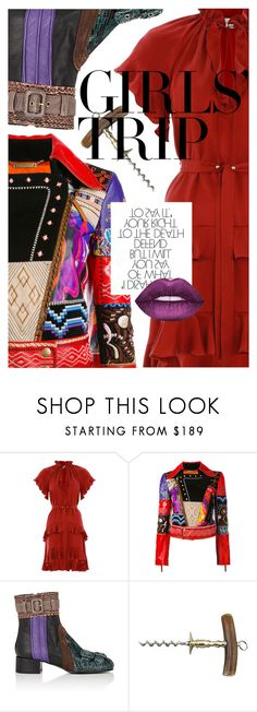 """Girls' Trip: Wine Tasting"" by cultofsharon ❤ liked on Polyvore featuring Zimmermann, Roberto Cavalli, Prada and Lime Crime"