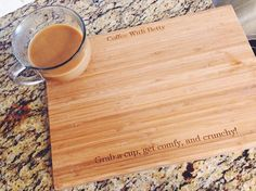 LOVE LOVE LOVE this! It's a personalized cutting board that you can have engraved with any message you want! It's a high-quality bamboo board from PersonalizationMall.com .. they come in all sorts of designs, too! I NEED this! #CuttingBoard #Recipe #KitchenGift