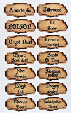 56 mini potion labels, for mini bottles, apothecary, crafting. Each label different text great for harry potter theme gothic theme party - Bottles Craft 2 Harry Potter Halloween, Harry Potter Potion Labels, Harry Potter Motto Party, Décoration Harry Potter, Harry Potter Thema, Classe Harry Potter, Mundo Harry Potter, Harry Potter Classroom, Harry Potter Bedroom