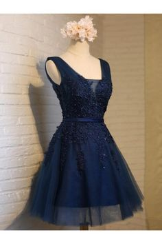 Cheap A-line/Princess Homecoming Prom Dresses Short Navy Dresses With Lace Up Applique Mini Luscious Prom Dresses WF02G55-757