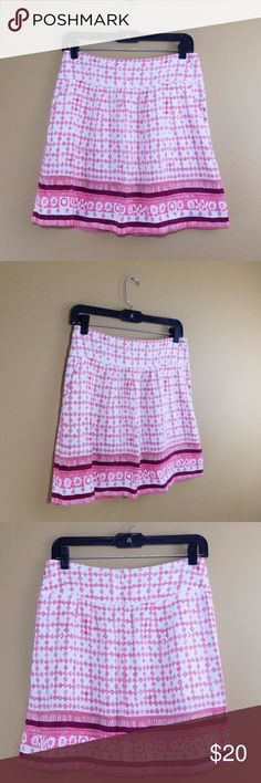 """LOFT Printed Linen Skirt w/Pockets Brand: ANN TAYLOR LOFT  Size: 4  Color: PINK AND CREAM  Features: POCKETS, PLEATED, WIDE WAISTBAND  Material: 55% LINEN 45% RAYON  Made in: PHILLIPINES  Waist: 29"""" Length: 17.5"""" Ann Taylor Loft Skirts"""