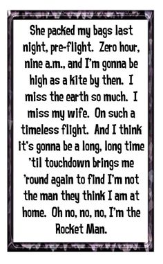 Elton John - Rocket Man - song lyrics,music lyrics, song quotes, music quotes, music, songs