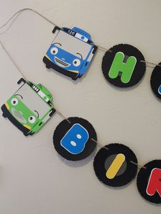 Tayo the Little Bus Birthday Banner Car by Pleasantviewparties