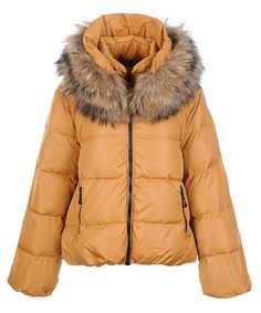 Moncler Sauvage Down Jackets Women Zip Fur Collar Khaki! Only $271.9USD