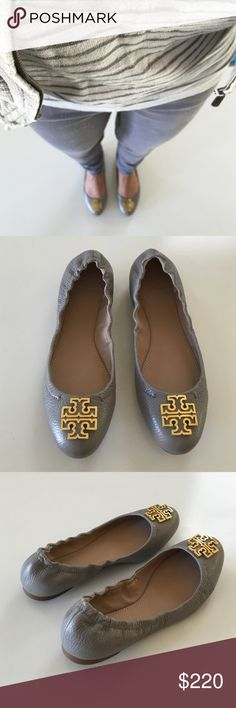 Tory Burch Melinda Ballet Flat Tory Burch Ballet Flat in cloud grey and gold hardware. Back has the gather so it holds on well without slip. Super cute! Modeled with own pair of shoes for photo. Tory Burch Shoes Flats & Loafers