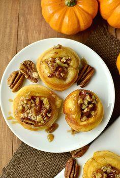 Mini Pumpkin Sticky Buns. 5 ingredients and absolutely irresistible! @IowaGirlEats   iowagirleats.com