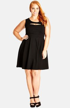 City Chic 'Peek-a-Boo' Fit & Flare Dress (Plus Size) available at #Nordstrom