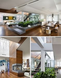 Designed by Joel Sanders Architect, this central city residence is focused up and out. Plants are arrayed around the slim stairs leading to the rooftop area above, creating a bridge between the modern interior and organic exterior. The bulkhead housing this connection (along with generous skylights) also brings natural light down into the main apartment.