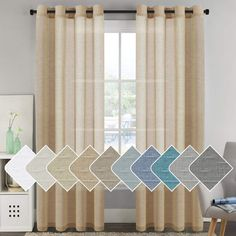 H.VERSAILTEX Bedroom Curtains Natural Linen Sheer Curtains 96 inches Long, Light Filtering Semi Sheers Curtains/Nickel Grommet Window Treatments Panels/Drapes, Privacy Assured, 2 Panels