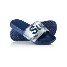 Superdry Pool Slider Sandals ($18) ❤ liked on Polyvore featuring men's fashion, men's shoes, men's sandals, navy, mens strap sandals, mens monk strap shoes, mens sandals, mens navy shoes and navy blue mens shoes