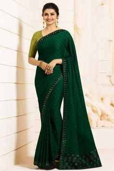 893b0cb560 Rangoli Silk(Satin Or Moss) Saree in Green Color. Enhanced with Stone Fixed  Work and Lace Border Work. Free Services: Fall and Edging.