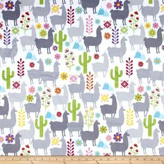 Minky Llama Minky Print White from @fabricdotcom  This minky fabric has a soft 2mm pile that's perfect for baby accessories, quilt backings, blankets, throws, pillows and stuffed animals. Colors include white, blue, pink, green, yellow and grey.