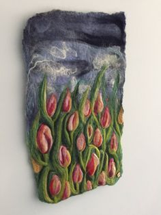 Wool needle felted wall hanging / wool painting dutch tulip field door S7oRs op Etsy