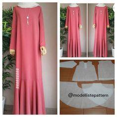Best seller dress with flare bottom pattern 😍 . Abaya Fashion, Muslim Fashion, Dress Paterns, Abaya Pattern, Dress Sewing Tutorials, Dress Making Patterns, Muslim Dress, Mode Hijab, Types Of Dresses