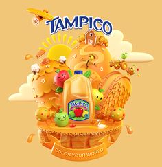 We're proud to share these 4 illustrations we created with the wonderful people at Macias Creative for Tampico Beverages. The concept was to create a series of bright, surreal, crazy, joy-filled worlds to represent their fruit juice drinks.As well as th…