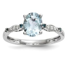 14k White Gold Oval Genuine Aquamarine, Blue Sapphire & Diamond Ring – Sparkle & Jade
