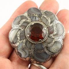Big Antique Victorian c 1890 silver Scottish agate Cairngorm citrine brooch pin