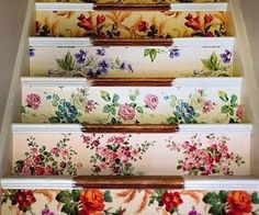 Idea: Wallpapered Stairs If I ever live in a house with stairs (doubtful). A genius idea for using cool scraps of vintage wallpaper.If I ever live in a house with stairs (doubtful). A genius idea for using cool scraps of vintage wallpaper.