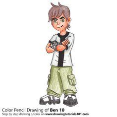 Ben 10 with Color Pencils