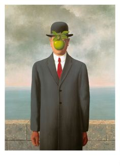 """The Son of Man according to Magritte, """"At least it hides the face partly. Well, so you have the apparent face, the apple, hiding the visible but hidden, the face of the person. It's something that happens constantly. Everything we see hides another thing, we always want to see what is hidden by what we see. There is an interest in that which is hidden and which the visible does not show us. This interest can take the form of a quite intense feeling, a sort of conflict..."""
