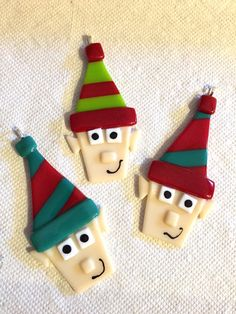 Santa's Elf Ornament Fused Glass Handcrafted 3 x by OmegaArtDesign