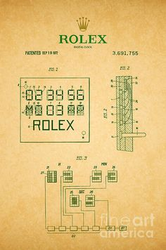 1972 Rolex Digital Clock Patent Art in Dark Green on Parchment. Patent awarded to Hem Gin. Assignor to Rolex Watch Company.