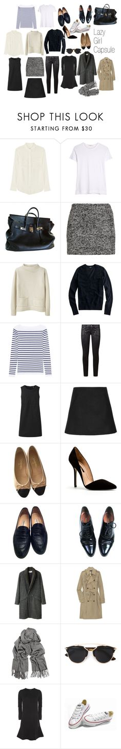 """""""Lazy Girl :: Capsule Wardrobe"""" by katras ❤ liked on Polyvore featuring Equipment, ADAM, Hermès, Diane Von Furstenberg, MHL by Margaret Howell, J.Crew, M.i.h Jeans, Paige Denim, Uniqlo and Marni"""