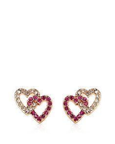 Pave Double Heart Earrings