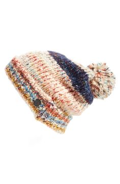 A fluffy pompom tops off this slouchy beanie knit with a cool texture and fun, bright colors perfect for keeping warm.