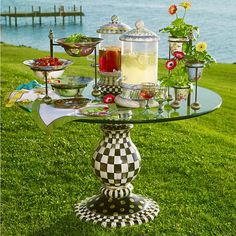Courtly Check Pedestal Table Base Round Glass Table Top, Mackenzie Childs Furniture, Yurt Home, Pedestal Table Base, Whimsical Painted Furniture, Mackenzie Childs Inspired, Mckenzie And Childs, Diy Table Top, Thrifty Decor