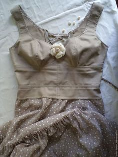 Купить Платье на шнуровке из хлопка в стиле бохо. - серый, в горошек…