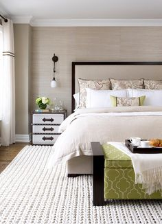 Contemporary Bedroom by Laura Stein Interiors; subtle wallpaper