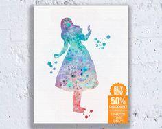 Alice au pays des merveilles décorations Disney imprimer Disney imprimable bleuâtre aquarelle imprimable Art Disney pépinière filles téléchargement immédiat