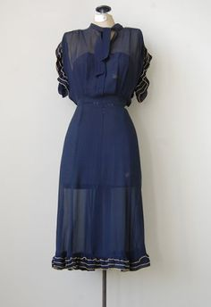 Vintage 1930s Sheer Ruffle Dress