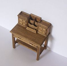Your place to buy and sell all things handmade Desk Height, Arts And Crafts House, Oak Stain, Writing Desk, Scale, My Etsy Shop, Miniatures, Buy And Sell, Antiques