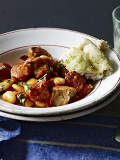 One to adapt for the slow-cooker - pork, chorizo and butter beans make a winter warmer to share.