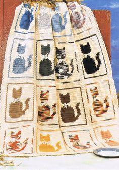 "Cat Afghan ~ intermediate crochet project, finished size 42x49"" ~ $4 digital pattern download (pdf)   via yarnaroundhook @ Etsy"